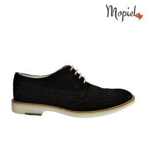 pantofi barbati - Pantofi barbatesti din piele naturala negri cu siret Mopiel - Pantofi barbati, din piele naturala 13603/SP/Negru/Apolo