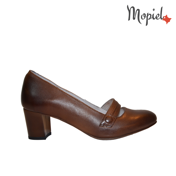 pantofi - Pantofi dama din piele naturala cu toc Mopiel 1 - Pantofi dama din piele naturala 24701/maro/Rona