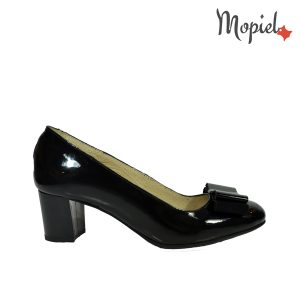 pantofi dama - Pantofi dama din piele naturala cu toc Mopiel - Pantofi dama din piele naturala 24702-1/Negru/Rona