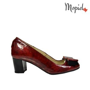 pantofi dama - Pantofi dama din piele naturala lac cu toc Mopiel - Pantofi dama din piele naturala 24702-1/Rosu/Rona