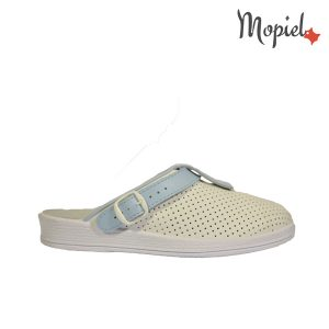 papuci medicinali - Papuci medicinali din piele naturala Mopiel - Papuci medicinali din piele naturala 74-04/alb-albastru