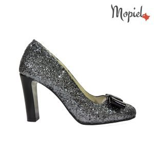 pantofi dama - pantofi dama din piele naturala Mopiel - Pantofi dama din piele naturala 24706/Gliter – Argintiu/Corsica