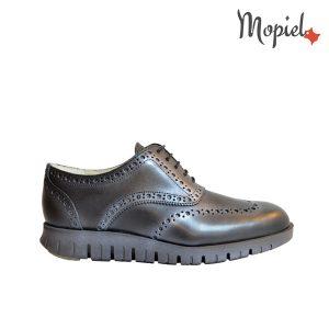 pantofi barbati - Pantofi barbatesti dinpiele naturala cu siret interior din piele naturala Mopiel - Pantofi barbati, din piele naturala 13701/Negru/Burgo