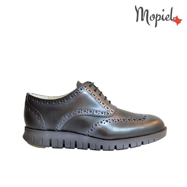 pantofi barbatesti - Pantofi barbatesti dinpiele naturala cu siret interior din piele naturala Mopiel - Pantofi barbatesti din piele naturala 13701/negru/Burgo