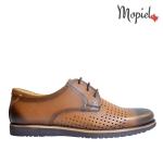 papuci Papuci  din piele naturala Cata/312/maro pantofi barbatesti din piele naturala cu siret Mopiel