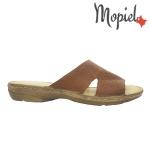 Papuci din piele naturala Norina/2642/camel Papuci dama din piele naturala Mopiel
