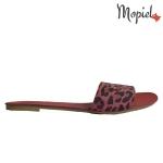 Sandale din piele naturala Oana/25520/albastru Papuci dama tigrat rosu Mopiel