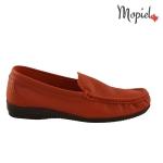 Papuci din piele naturala Norina/2642/camel mocasini din piele spalt Mopiel