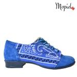 Pantofi dama din piele naturala 23420/albastru pantofi dama din piele naturala intorasa cu siret interior din piele naturala Mopiel