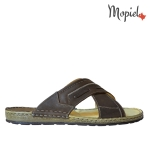 Pantofi din piele naturala Nicolas/500 gri nisip papuci barbatesti din piele naturala interior din piele naturala Mopiel