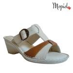 papuci dama din piele naturala cu toc si cu catarama, Mopiel.ro