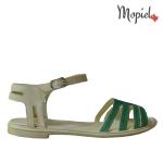 Sandale din piele naturala Oana/25520/verde/bej sandale dama din piele naturala cu catarama interior din piele naturala Mopiel