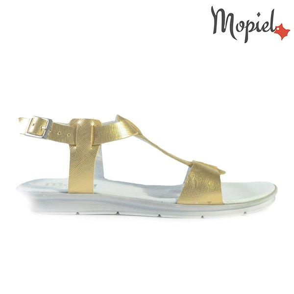 sandale dama - Sandale dama din piele naturala cu catarama Mopiel incaltaminte - Sandale dama din piele naturala 25634/Np-Croco-Maro/Livia