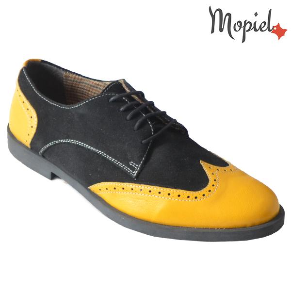 Pantofi barbati din piele naturala 13403 Galben-Negru Ezel incaltaminte dama