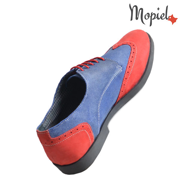 Pantofi barbati din piele naturala 13403 Rosu-Albastru Ezel incaltaminte online