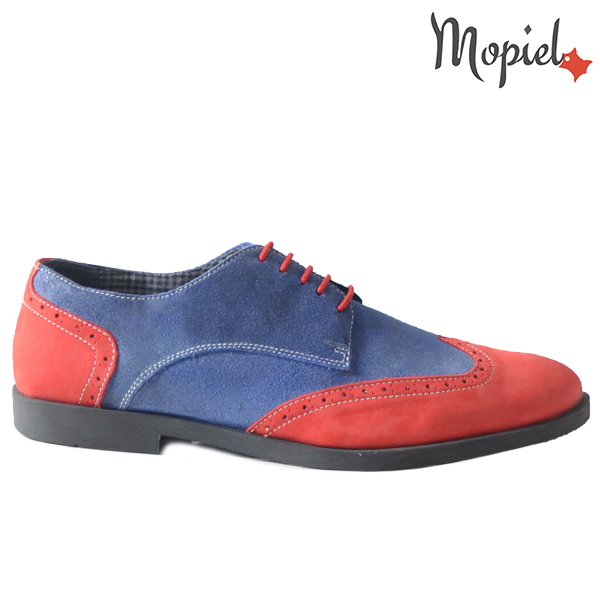 Pantofi barbati din piele naturala 13403 Rosu-Albastru Ezel