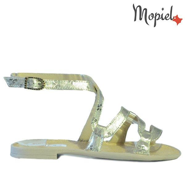 sandale dama - Sandale dama din piele naturala 25802 Auriu Silvia incaltaminte dama sandale dama - Sandale dama din piele naturala 25802/Alb-Dungi/Silvia