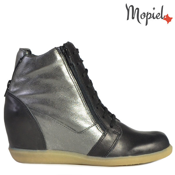 pantofi barbati - Ghete dama din piele naturala 21418 Negru Argintiu Mandy - Pantofi barbati din piele naturala 13202/SP-Gri-Perforat/Ezel