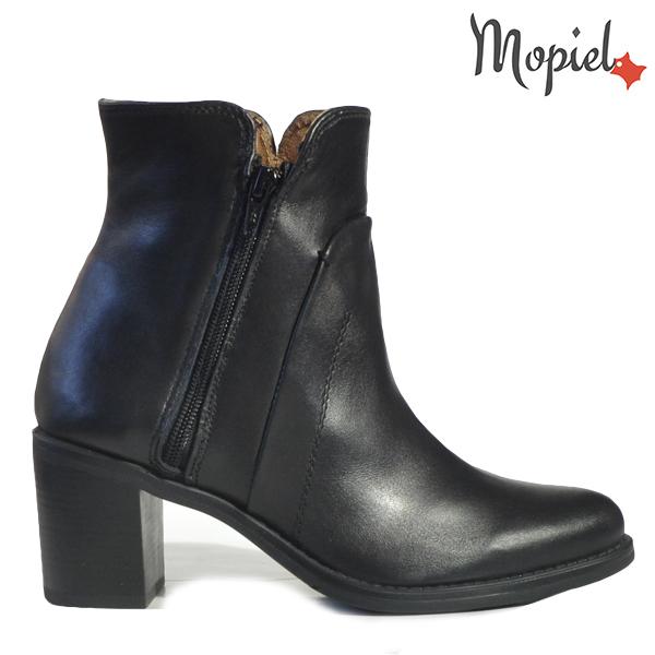 pantofi dama - Ghete dama din piele naturala 21613 Negru Chip - Pantofi dama din piele naturala 117/Militar/Opal
