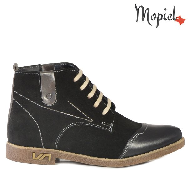pantofi dama - Ghete dama din piele naturala 218505 707 Negru Gracie - Pantofi dama din piele naturala 117/Militar/Opal