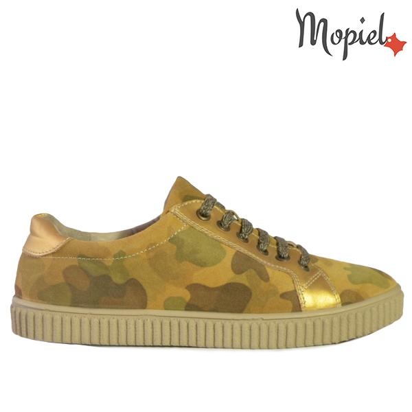 ghete dama - Pantofi dama din piele naturala 117 Militar Opal - Ghete dama din piele naturala 21613/Negru/Chip