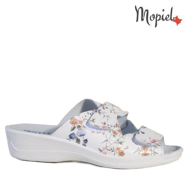 - Papuci dama ortopedici 26191251 07 07 Alb Floral Ofelia 600x600 - Cand stai mai mult acasa… papuci din piele!