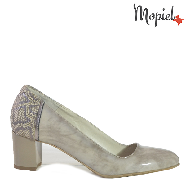 - Pantofi dama din piele naturala 24703 Gri Croco Rona - Pantofi eleganti la super pret!