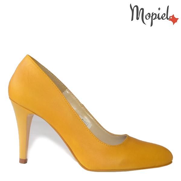 mopiel, pantofi dama cu toc, incaltaminte dama, incaltaminte ieftina incaltaminte piele,  - Pantofi dama din piele naturala 24417 Galben Creta - Reduceri la toate produsele!
