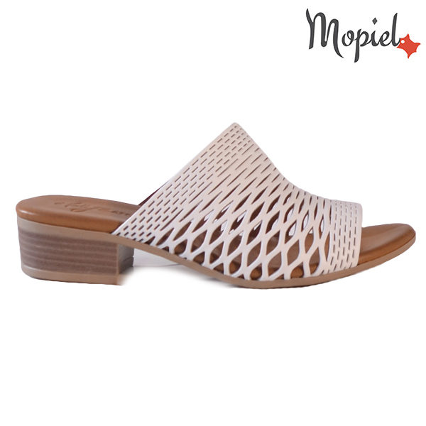Papuci dama, din piele naturala 261105 Alb Otilia