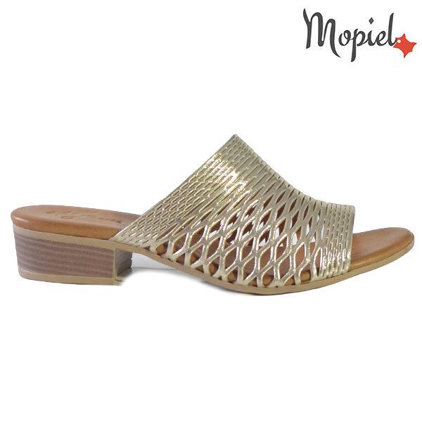 Papuci dama, din piele naturala 261105 Auriu Otilia