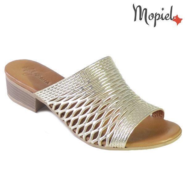 Papuci dama, din piele naturala 261105 Auriu Otilia incaltaminte dama