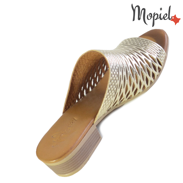 Papuci dama, din piele naturala 261105 Auriu Otilia papuci dama