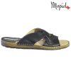 Papuci barbati din piele naturala 16601 Negru Carol