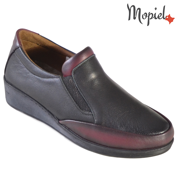 Pantofi dama, din piele naturala 231124 Negru-Visiniu Jade incaltaminte dama