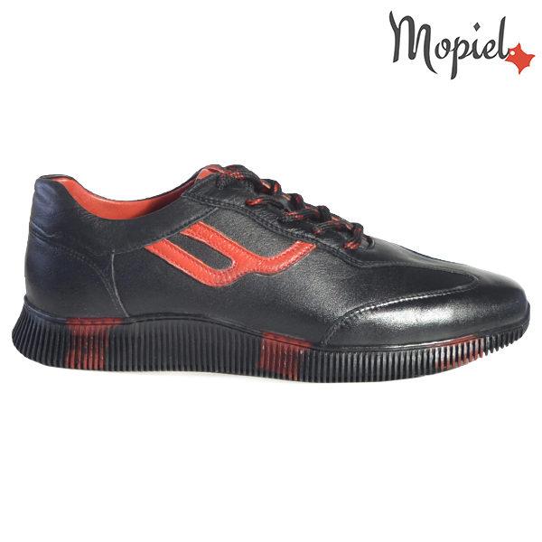 Pantofi barbati, din piele naturala U1320218 Negru - Rosu Alon