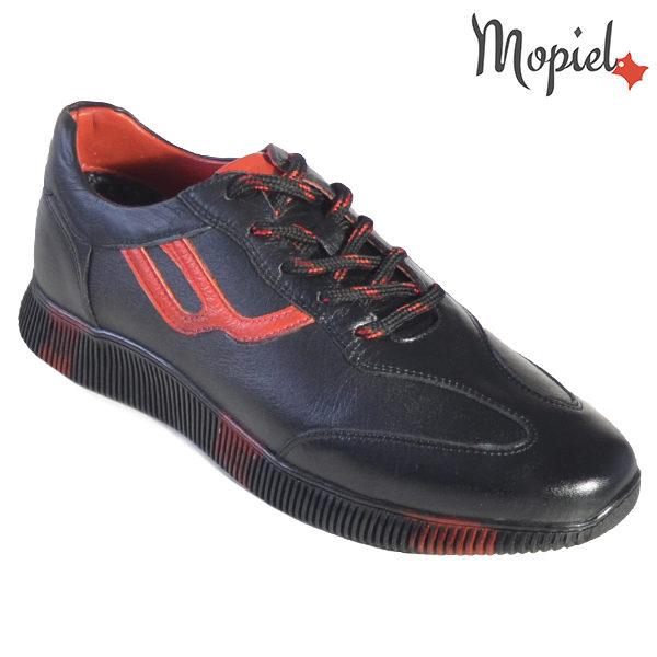 Pantofi barbati, din piele naturala U1320218 Negru - Rosu Alon incaltaminte barbati