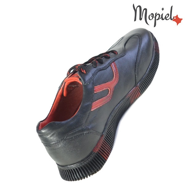 Pantofi barbati, din piele naturala U1320218 Negru - Rosu Alon incaltaminte online