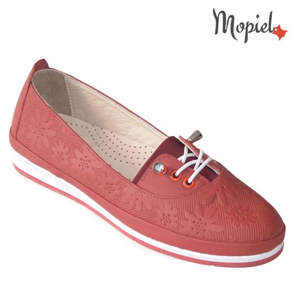 Pantofi dama din piele naturala 231108 Rosu Flori incaltaminte dama