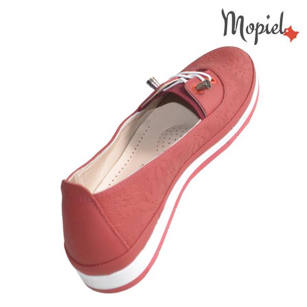 Pantofi dama din piele naturala 231108 Rosu Flori incaltaminte online