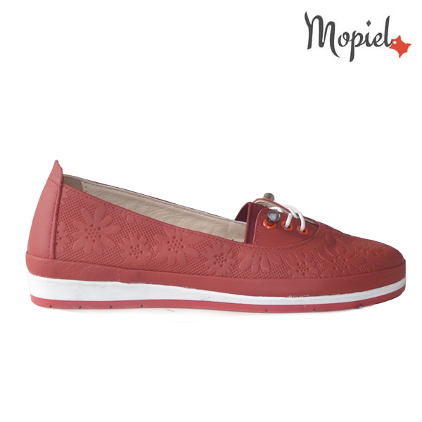 Pantofi dama din piele naturala 231108 Rosu Flori