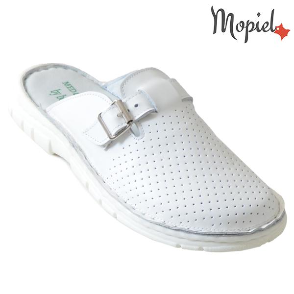 Papuci medicinali din piele naturala 261703 Alb-Perforat Denes incaltaminte barbati