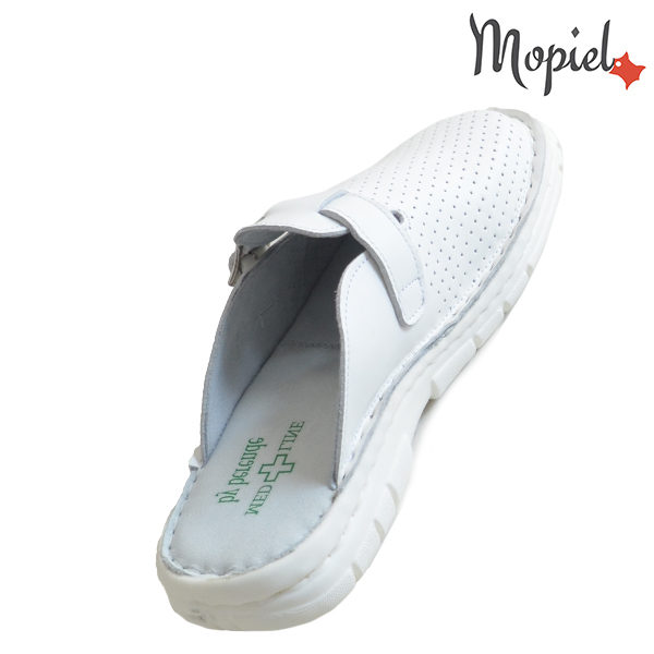 Papuci medicinali din piele naturala 261703 Alb-Perforat Denes incaltaminte piele