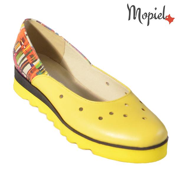 Pantofi dama, din piele naturala 202126 R23 Galben-Multicolor Divya incaltaminte dama