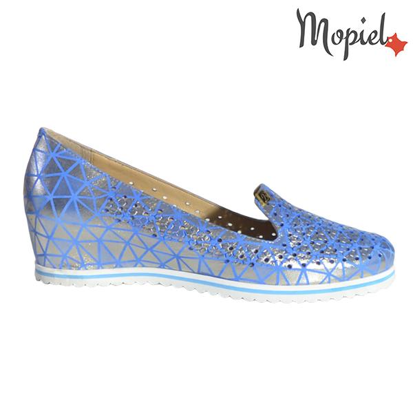 Pantofi dama din piele naturala 231110 Albastru - Argintiu Nadia